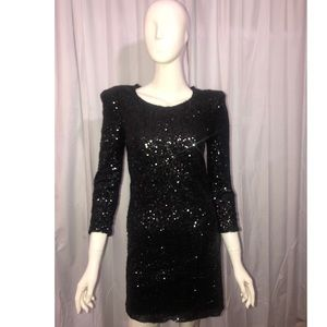 Lucca Couture Black Sequin Club Dress